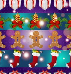 New year pattern with gingerbread man gift vector
