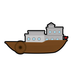 Old ship icon vector