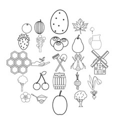 Plot icons set outline style vector