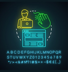 Ppc specialist neon light icon digital marketing vector