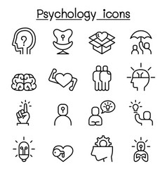 psychology icon set in thin line style vector image