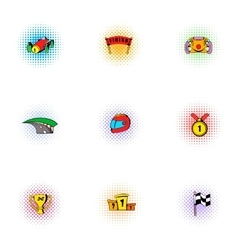 Racing accessories icons set pop-art style vector