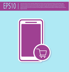 retro purple mobile phone and shopping cart icon vector image
