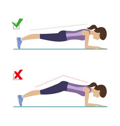 right and wrong plank position vector image