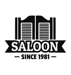saloon door logo simple style vector image