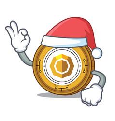 Santa komodo coin mascot cartoon vector