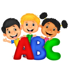 School kids with ABC vector