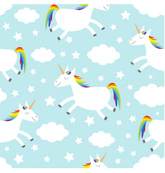 seamless pattern unicorn jumping cloud star in vector image
