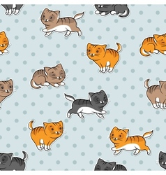 Seamless pattern with funny cats vector