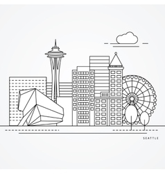 Seattle one line design vector