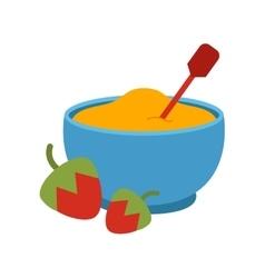 Semolina porridge with strawberry vector image
