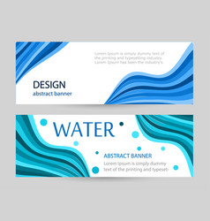 set bright banners with blue wave line on white vector image
