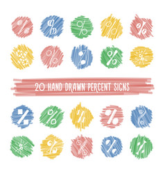 set of hand drawn percent signs on highlight spots vector image