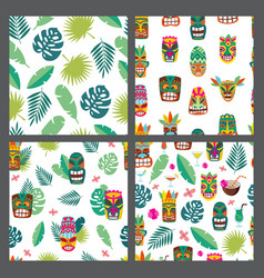 set seamless patterns with tiki mask and leaves vector image