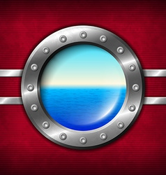 Ship porthole with seascape vector