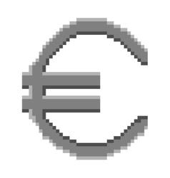 Sign pixel euro grey 1306 vector