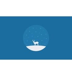 Silhouette of one deer christmas scenery vector