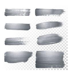 Silver glitter paint brush strokes set vector
