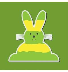 sitting smiling greenish yellow Easter bunny vector image