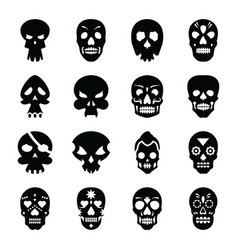 skull tattoo glyph icons vector image