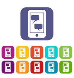 smartphone and speech bubbles icons set vector image