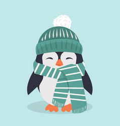smiling penguin characters with hat vector image