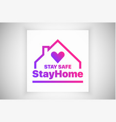 Stay at home stay safe slogan logo isolated on vector