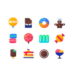 sweets - set of flat design style icons vector image