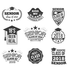 The set of black colored senior text signs with vector