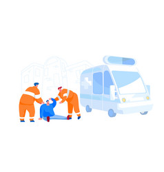 Urgency ambulance help paramedic occupation road vector