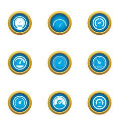Velocity icons set flat style vector