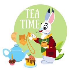 white rabbit hurrying to the mad tea party to the vector image