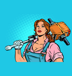 Woman road worker builder with jackhammer vector