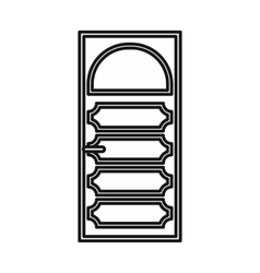 Wooden door with an arched glass icon vector image