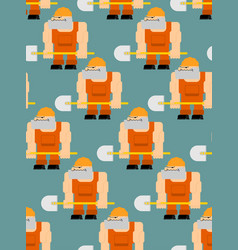 worker with shovel seamless pattern road worker vector image