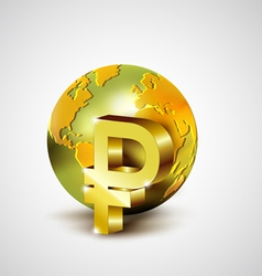 World economic concept with gold world and Ruble vector