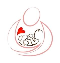 creative mother baby icon design concept vector image vector image