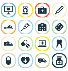 drug icons set collection of bus retreat vector image vector image
