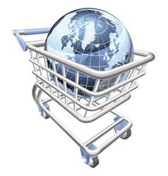 globe shopping cart concept vector image