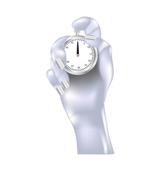 metal hand and stopwatch vector image vector image