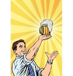 Retro man and mug of beer vector image