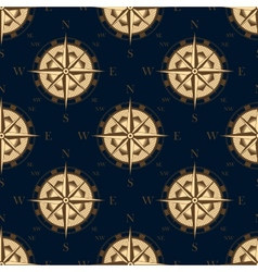 Seamless golden stylized compass rose pattern vector image