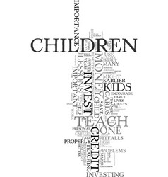 Teach your kids to invest text background word vector