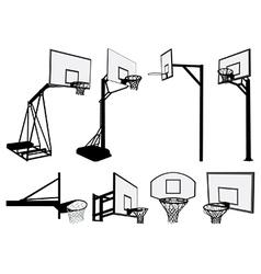Basketball hoop silhouettes vector