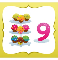 Collection Sweet Numbers for Kids 9 vector image vector image