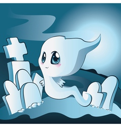 Cute ghost on cemetery vector image vector image