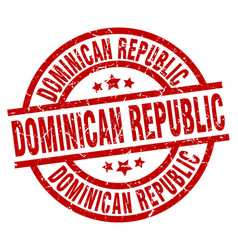dominican republic red round grunge stamp vector image