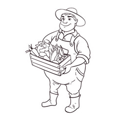 farmer lineart character cartoon cute fat vector image