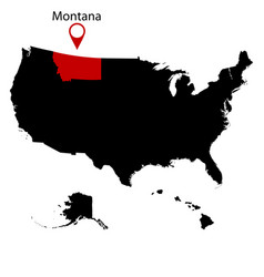 map of the us state of montana vector image vector image