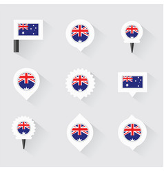 australia flag and pins for infographic and map vector image vector image